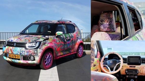 Nu in de veiling voor LINDA.foundation: handgeschilderde Suzuki Ignis